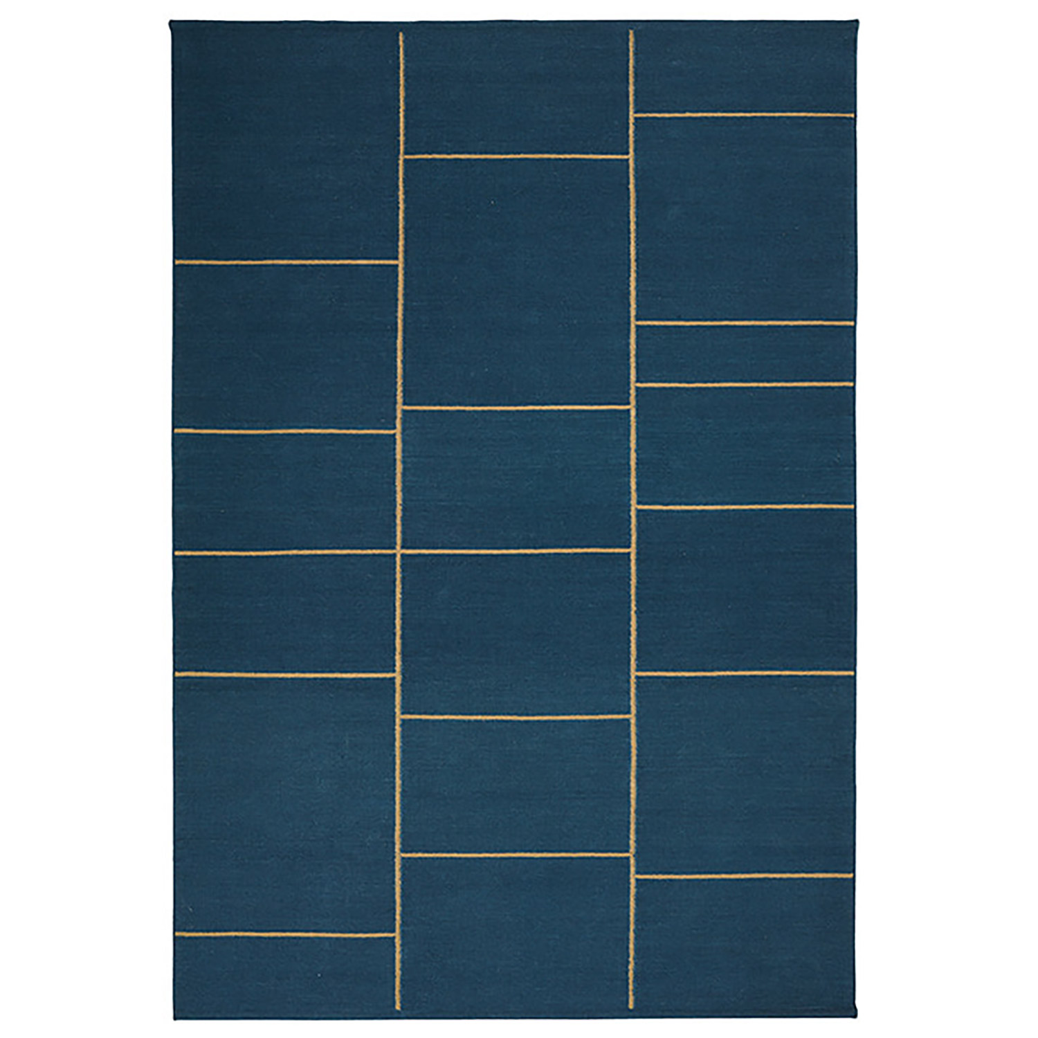 Sita Dhurry Wool matto 230x320, dark blue abrush/beige