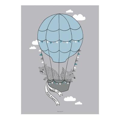 hot-air-balloon-friends-juliste-50x70-harmaa
